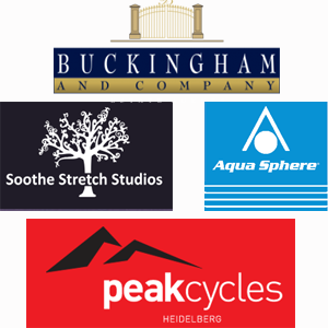 Our sponsors - Buckingham & Co, Soothe Stretch Studios, Aquashphere and Peak Cycles